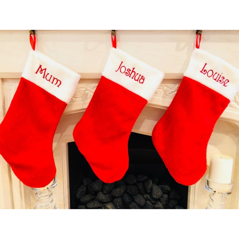 Luxury Christmas Stockings Uk.Personalised Santa Red Plush Luxury Christmas Stocking With Fluffy White Trim