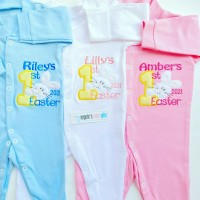 1ST EASTER 2022 PERSONALISED EMBROIDERED BABY GROW BUNNY