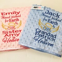 HAND PICKED FOR EARTH LUXURY EMBROIDERED PERSONALISED DIMPLED BABY BLANKET