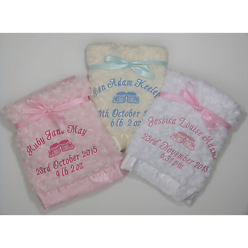 f2203188e9f9 Personalised Luxury Fluffy   Soft   Satin Trim   Satin Backed Embroidered  Blanket Baby Booties Design