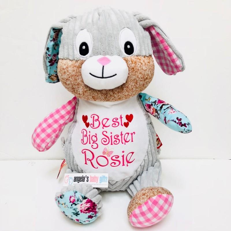 clovis brampton personalised personalised harlequin pink bunny