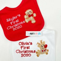 REINDEER / GINGERBREAD MAN FIRST CHRISTMAS 2020 PERSONALISED EMBROIDERED BABY BIB