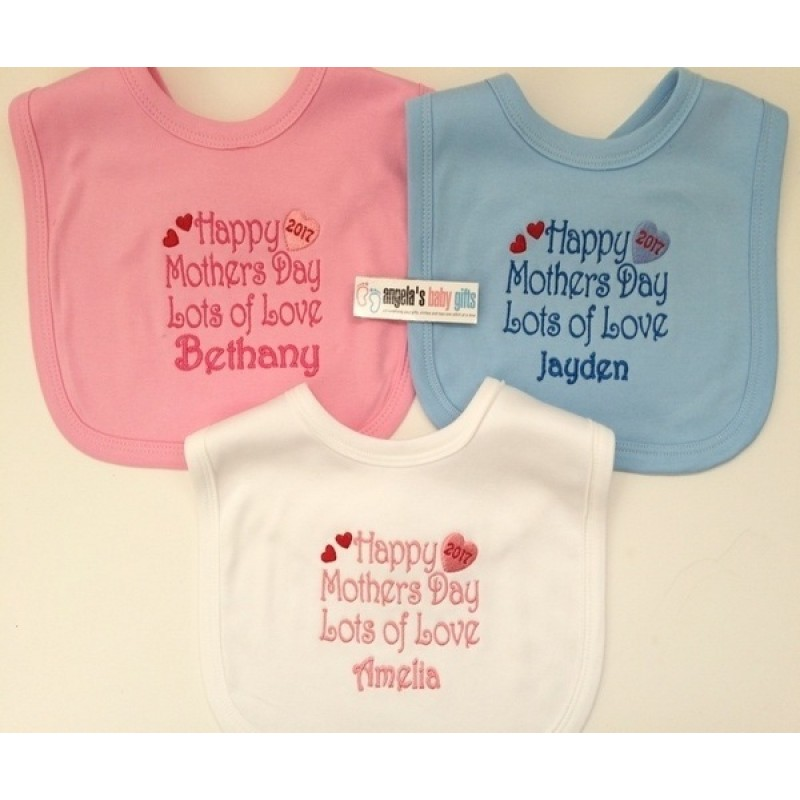 5a9a4d74 Happy Mothers Day Personalised Embroidered Baby Bib