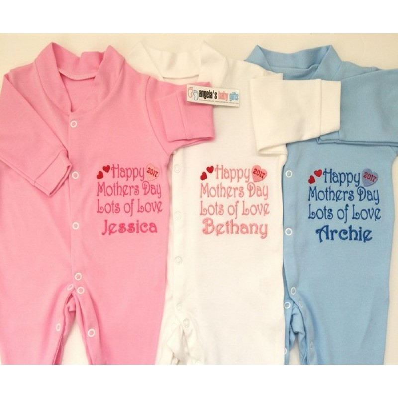 048475b0 Happy Mothers Day Personalised Embroidered Baby Grow