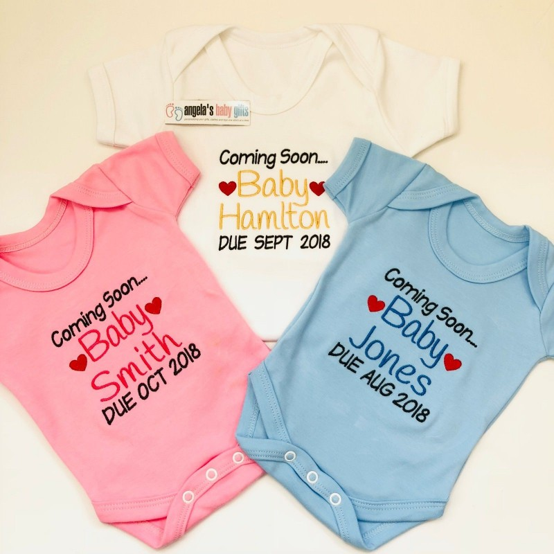 2bd161643 coming soon baby announcement personalised embroidered baby vest
