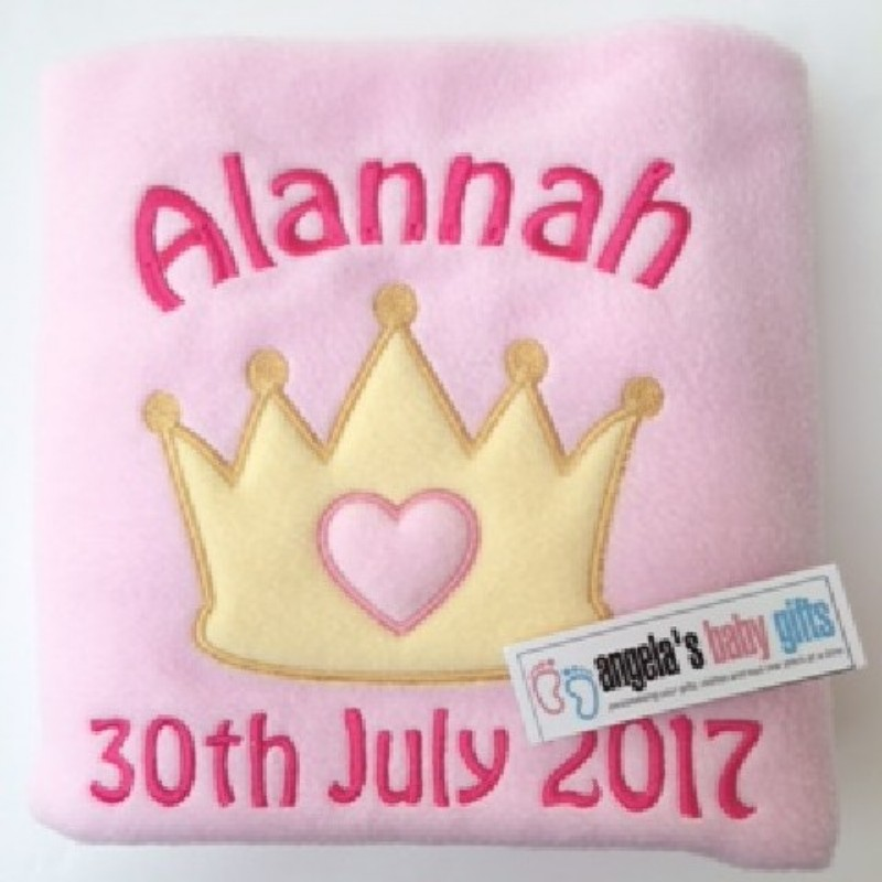 PERSONALISED LUXURY BABY BLANKET PRINCESS PRINCE CROWN EMBROIDERED NAME DATE