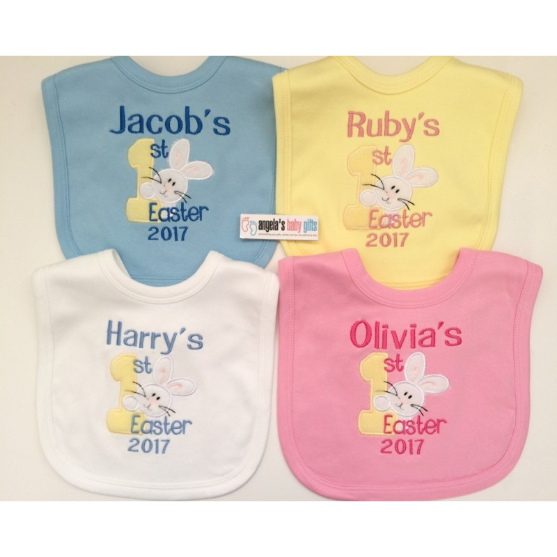 1st easter 2019 personalised embroidered baby bib bunny negle Image collections