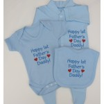 Happy 1st Father's Day Embroidered Baby Baby Set Grow / Vest / Bib