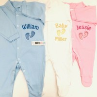 BABY FEET PERSONALISED EMBROIDERED BABY GROW