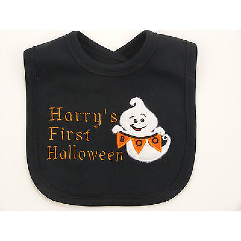 Name 1st Halloween Ghost Embroidered Baby Bib Gift Personalised