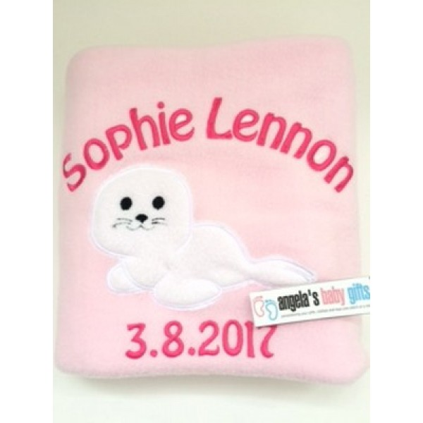 Baby Seal Personalised Embroidered Fleece Blanket