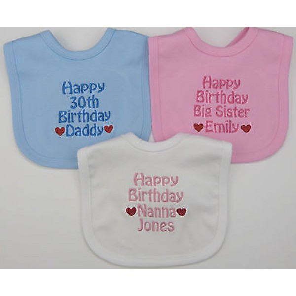 Personalised Happy Birthday Daddy Mummy Nanny Grandad Sister Brother Uncle Auntie Bib