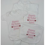 Personalised Happy Birthday Daddy Mummy Nanny Grandad Sister Brother Uncle Auntie Baby Set Grow Vest Bib