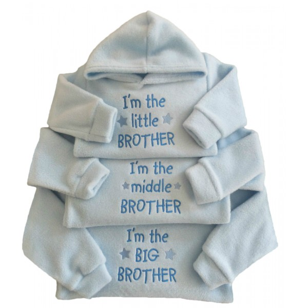 I'M THE LITTLE MIDDLE BIG BROTHER BABY BLUE FLEECE HOODIE TOP