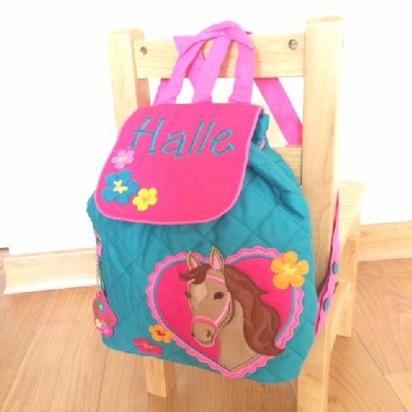 Girl Horse Personalised Stephen Joseph Quilted Backpack