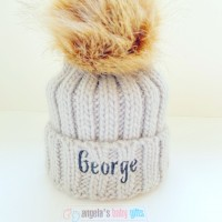INFANT / JUNIOR FAUX FUR POM POM CHUNKY BEANIE GREY