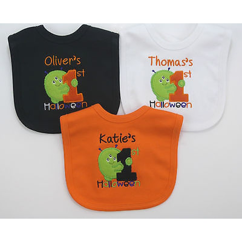 my first halloween monster personalised embroidered baby bib