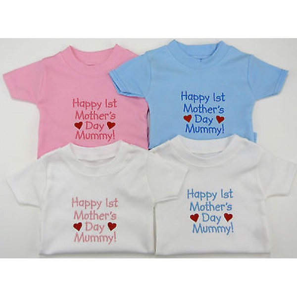 Happy 1st Mothers Day Embroidered Tee Shirt