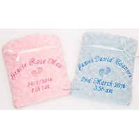 BEAUTIFUL PERSONALISED LUXURY ROSE FUR FEET EMBROIDERED BLANKET WITH SATIN TRIM