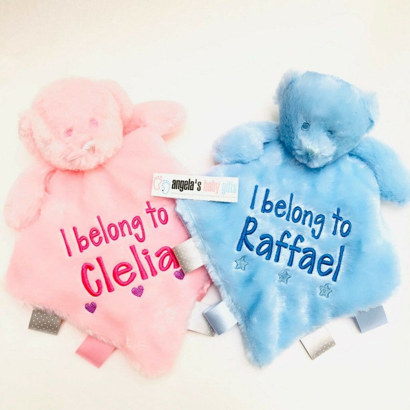 7bc99a0a3b8bf Personalised Baby Plush Teddy Bear Comforter Blanket With Ribbons