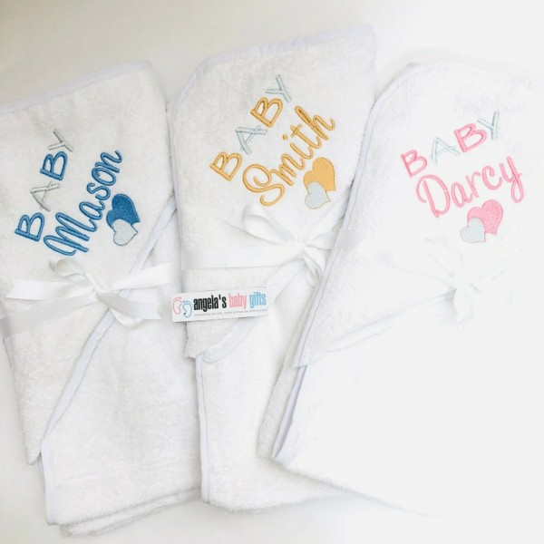 PERSONALISED HOODED TOWEL BABY HEART DESIGN