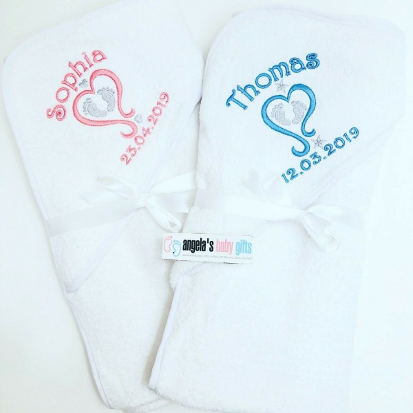 PERSONALISED HOODED TOWEL BABY HEART FEET DESIGN