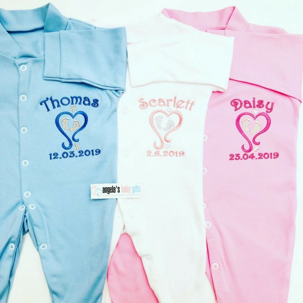 BABY HEART & FEET PERSONALISED EMBROIDERED BABY GROW