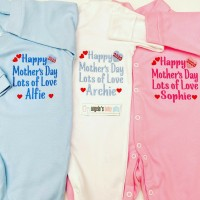 Happy Mothers Day 2021 Personalised Embroidered Baby Grow