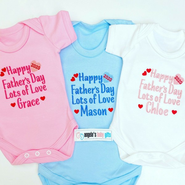 Happy Father's Day 2020 Personalised Embroidered Baby Vest