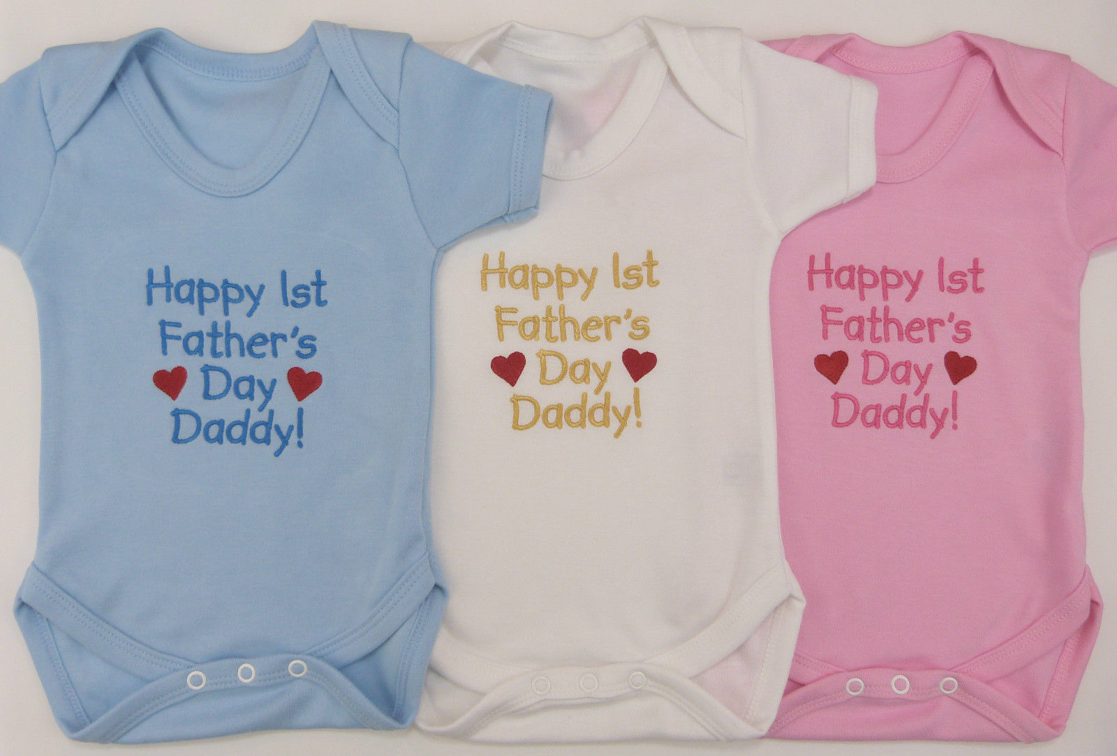 Happy Father/'s Day Embroidered Baby Romper Babygrow Gift Personalised Fathers