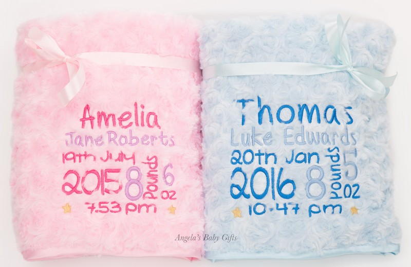 Angel Baby Gifts Uk : Personalised luxury rose fur birth block embroidered