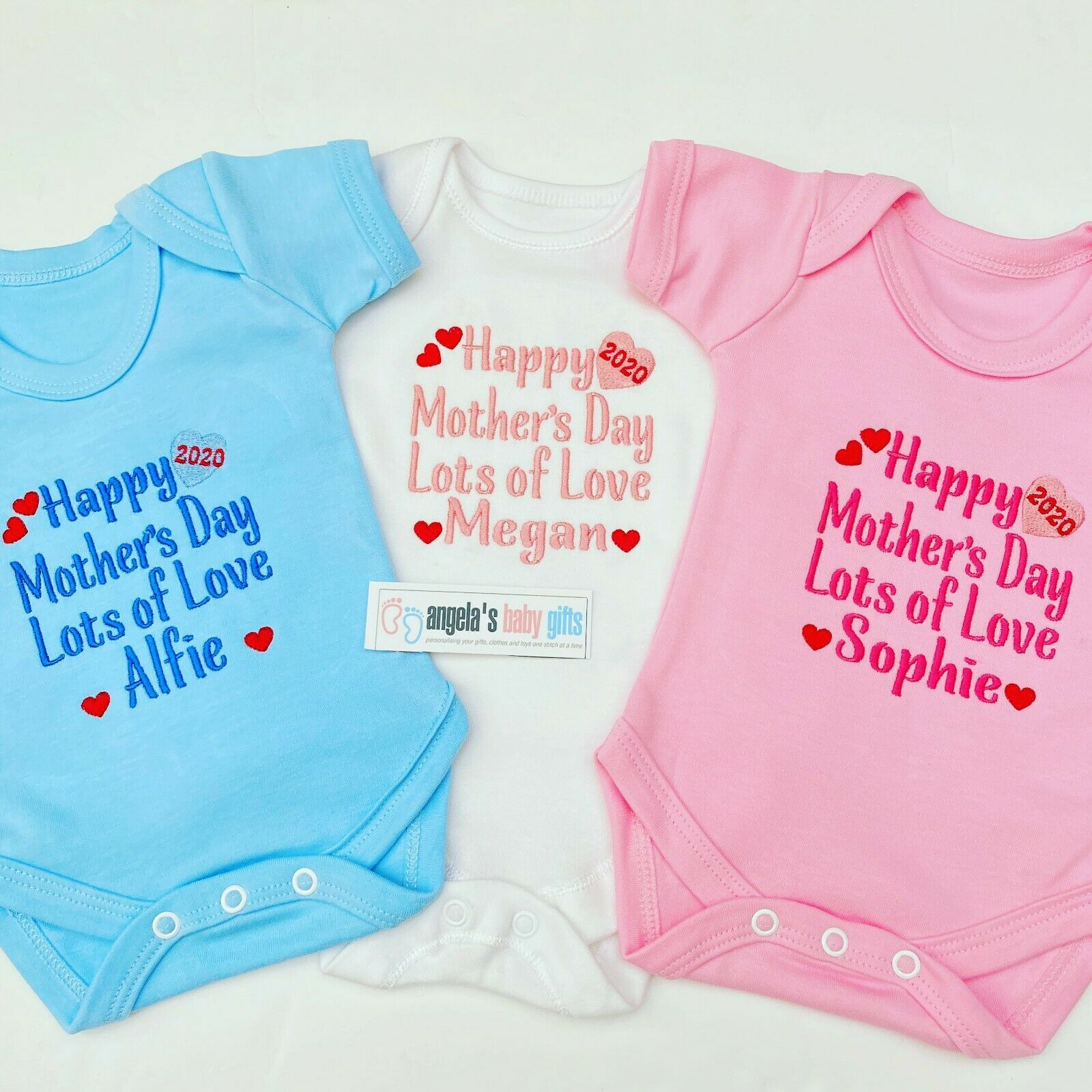 Personalised Baby Bib 1st Mothers Day 2019 Embroidered Gift Boys//Girls